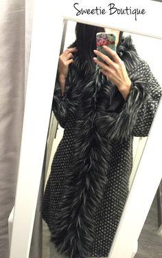 Manteau long faux fur noir via Sweetie Boutique. Click on the image to see more!