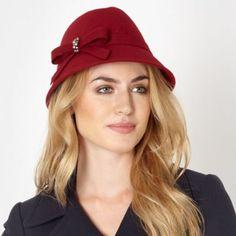 Designer dark red wool trilby hat - J by Jasper Conran