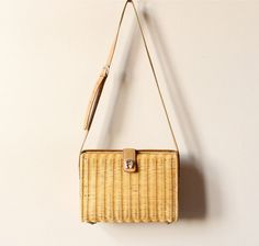 Etienne Aigner Rattan Basket Purse preppy woven straw bag, tan leather adjustable strap, 80s 90s classic boho summer designer handbag. $59,00, via Etsy.