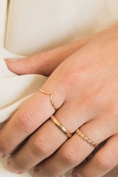 Showcasing some of our stunning new rings! Pictured is our Flower Ring, Chevron Ring, and Thin Band Ring. gold filled - perfect for everyday wear without tarnishing. Find more at Simple & Dainty! Gold Rings Jewelry, Hand Jewelry, Boho Rings, Thin Gold Rings, Dainty Gold Rings, Bullet Jewelry, Opal Rings, Jewelry Art, Jewlery