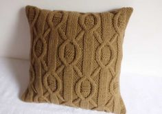 Brown Sugar Cable Knit Pillow Case Throw Pillow by Adorablewares