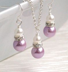 Bridesmaid Jewelry Set Purple bridesmaid set of necklace and earrings Glass pearl beads rhinestone spacers wedding party beaded jewelry.