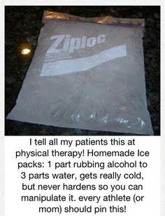 Homemade ice packs handy