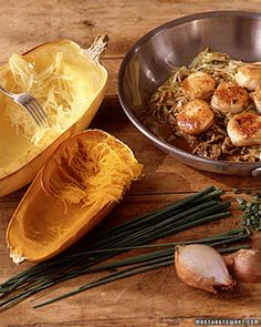 Low low low carb Sauteed Scallops Over Spaghetti Squash