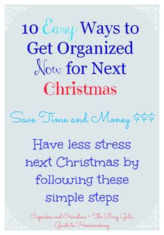 Get organized NOW for next Christmas? Oh, yes!