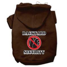 Backyard Security Screen Print Pet Hoodies Brown Size M (12)