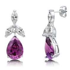 Women's 10.82 Carat #PEAR-CutEarrings 925 Sterling #ORCHIDEarrings Amethyst CZ #DangleEarrings #DropEarrings