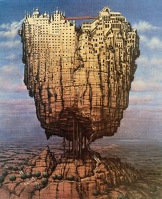Welcome to official site of Jacek Yerka, painter of fantasy worlds Fantasy City, Fantasy Castle, Fantasy Kunst, Fantasy Places, Fantasy World, Fantasy Artwork, Fantasy Concept Art, Art Magique, Art Du Monde