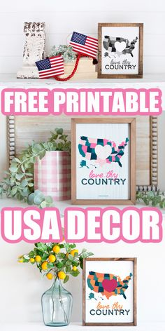 Our free printable room decor is perfect for the 4th of July! Give your home a bit of patriotism with one of these three prints. #printable #freeprintable #patriotic 4th Of July, Free Printables, Room Decor, Map, Country, Prints, Independence Day, Rural Area, Free Printable