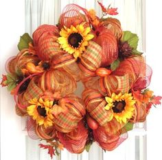 Your place to buy and sell all handmade things Stitches + wreaths . Mesh FALL wreath gold red stripes yellow sunflower pumpkins door wreathWreath with purple and white mesh, a cross that says tha. Fall Mesh Wreaths, Halloween Mesh Wreaths, Fall Deco Mesh, Diy Fall Wreath, Autumn Wreaths, Deco Mesh Wreaths, Holiday Wreaths, Wreath Ideas, Swag Ideas