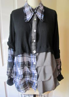 Lagenlook plaid tattered shirt by BreatheAgainClothing on Etsy, $125.00