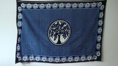 Rare Vintage East African Kanga navy blue and white tree patterned design textile panel wall art by TamiahDesigns on Etsy