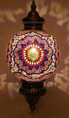 mosaic lighting ideas for porch or patio or entry way Turkish Style, Turkish Fashion, Pendant Lamp, Pendant Lighting, Chandelier, Mosaic Art, Mosaic Glass, Lampe Applique, Moorish