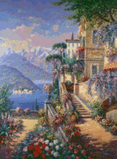 Mediterranean Villa landscape Cross Stitch pattern PDF