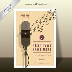Póster de festival de música Vector Premium