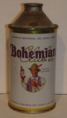 Vintage Bohemian Club Beer 12oz Cone Top Can Boise Idaho | eBay