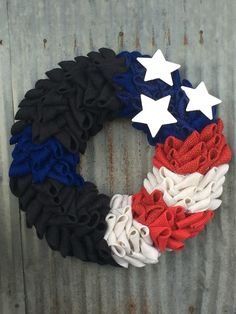 American Flag Wreath. 4th of July Wreath. Red White & Blue Wreath. Stars & Stripes Wreath. Independence Day Wreath. Law Enforcement Wreath. Policeman Wreath. The Thin Blue Line Wreath. Burlap Wreath. By AudraFaye❤️