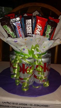 Soda & Candy Bar Bouquet                              … Candy Boquets, Candy Bar Bouquet, Homemade Christmas Gifts, Homemade Gifts, Diy Gifts, Teacher Appreciation Gifts, Teacher Gifts, Birthday Candy, Birthday Ideas