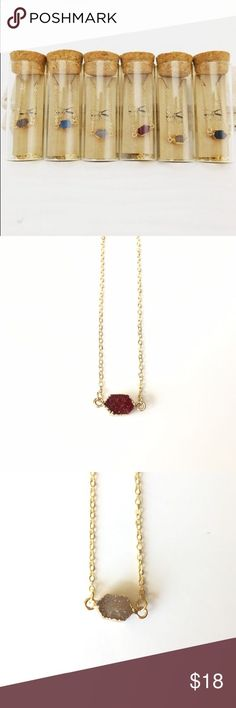 nice •SALE!• Gold Necklace with Druzy Stone Gold Necklace with Druzy Stone   •B...