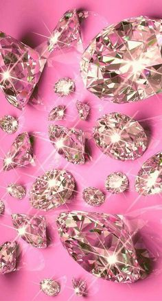 Diamonds on Pink Wallpaper.By Artist Unknown. Bling Wallpaper, Wallpaper Backgrounds, Pink Diamond Wallpaper Iphone, Wallpaper Wallpapers, Whatsapp Pink, Cellphone Wallpaper, Cute Wallpapers, Aesthetic Wallpapers, Pretty In Pink