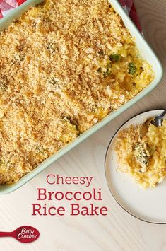 Cheesy broccoli-rice bake ready in less than an hour. Perfect for a delicious side dish! Lighter Cheesy Broccoli-Rice Bake: For 9 grams of fat and 275 calories per serving, omit 1 tablespoon butter for cooking onion; spray skillet with cooking spra My Recipes, Dinner Recipes, Cooking Recipes, Favorite Recipes, Salad Recipes, Veggie Side Dishes, Rice Dishes, Cheesy Broccoli Rice, Cooking Onions