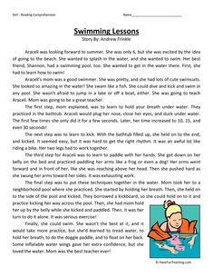 This Reading Comprehension Worksheet - Swimming Lessons is for teaching reading comprehension. Use this reading comprehension story to teach reading comprehension. Reading Comprehension Worksheets, Reading Fluency, Reading Passages, Reading Skills, Literacy Worksheets, Kindergarten Reading, English Stories For Kids, English Lessons For Kids, Learn English Words