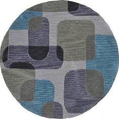 Fashion Ivory/Blue Geometric Area Rug LR Resources Rug Size: Round 3' x 3'