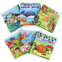 Baby Shower Bath English Cartoon Animal Cloth Book Early Education Games Toy