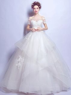 Sweet Ball Gown Off-the-shoulder Organza Tulle Floor-length Pearl Detailing Short Sleeve Wedding Dresses - dressesofgirl.com