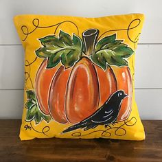 Pumpkin and Crow Fall Pillow Yellow Gold Hand-painted Pillow | Etsy Fall Pillows, Throw Pillows, Halloween Pillows, Canvas Fabric, Cotton Canvas, Simple Colors, Decorative Pillow Covers, Porch Decorating, Crow