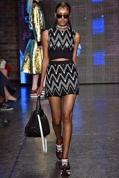SS15 DKNY NYFW - sheer fabrics combined with bold colours & geometric prints...plus the sneaker trend is here to stay...x