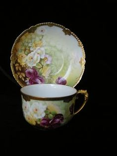 MOST GORGEOUS! Signed T Limoges ROSES Cup & Saucer