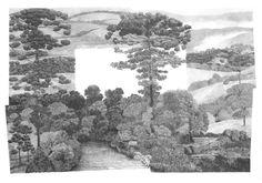 """francisco faria - """"new spread: hills from the south (martius variations)  [nova dispersão: serras do sul (variações martius)]"""", graphite on paper, 70 x 100 cm, 2014."""