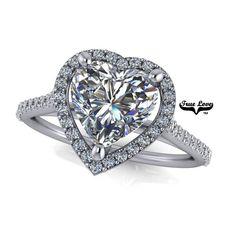 Moissanite Engagement Ring 14 kt White Gold, Trek Quality D-E Colorless Moissanite VVS clarity , Heart Ring, Halo Platinum Engagement Rings, Wedding Matches, Moissanite, Halo, Wedding Bands, Heart Ring, White Gold, Trek, Clarity