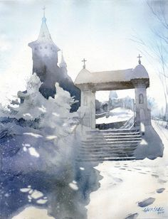 Incredible watercolor depicts an inviting walkway to a warm sanctuary and evokes an overall sense of ethereal light.