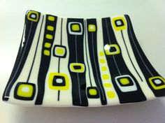 Items similar to Fused glass 1950's and 60s inspired platter, fruit bowl or just for display in black, yellow and ivory. on Etsy