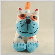 Free Shipping Handmade Sock Cat Kitty Stuffed by supersockmonkeys