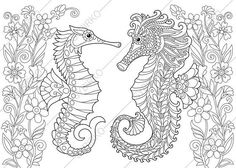 Adult Coloring Page. Seahorses and Flowers. Zentangle Doodle
