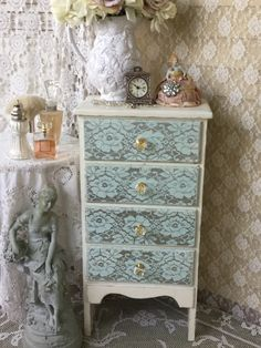 A personal favorite from my Etsy shop https://www.etsy.com/listing/385294796/shabby-white-dresserbureauchest-of