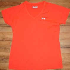Under armour  Women's Semi Fitted Heat Gear Athletic Shirt Size Med Hot Orange   Clothing, Shoes & Accessories, Women's Clothing, Athletic Apparel   eBay!