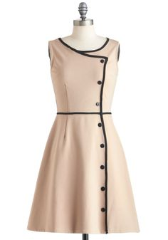 Chord-ially Yours Dress - Tan, Black, Solid, Buttons, Work, A-line, Sleeveless…
