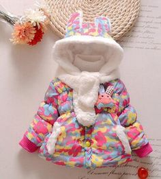 Baby Girls Winter Coat Rabbit Jacket with Velvet years Fashion bebe Girls Outerwear Kids Children Winter Clothes with Scarf - EverythingBuyOnline Store Kids Winter Jackets, Girls Winter Coats, Winter Kids, Snow Wear, Toddler Girl, Baby Girls, Camouflage Jacket, Baby Girl Winter, Rabbit Baby