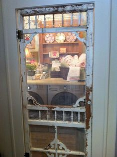 """Not fond of the """"shabby"""" look, but like the idea of a fancy wooden screen door on the laundry room. -- Country Scree-Door for Laundry-Room; I WANT this for a Pantry-Door in the Kitchen! Primitive Laundry Rooms, Farmhouse Laundry Room, Shabby Chic Farmhouse, Shabby Chic Kitchen, Shabby Chic Homes, Shabby Chic Decor, Farmhouse Kitchens, Kitchen Country, Farmhouse Style"""