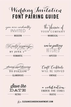 Awesome fonts i esp like a few of the ones near the top what i wedding invitation font and pairing guide from elegance and enchantment great combinations of script stopboris
