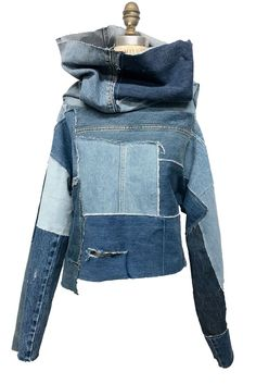 Denim Turtle neck, Recycled denim , Reworked denim, upcycled denim , denim long … - All About Decoration Jean Jacket Outfits, Denim Outfit, Denim Purse, Diy Jeans, Denim Fashion, Look Fashion, Fashion Clothes, Jean Diy, Recycled Fashion