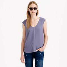 J.Crew - Petite cap-sleeve shirttail blouse