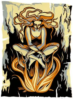 PROPHECY reduction linocut by Natalia Moroz.