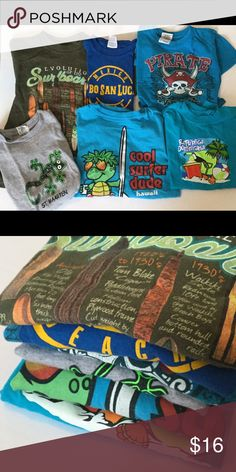 Destination 6 piece T-shirt lot, size 4 Left to right: green surfboards, San Diego CA, youth small. Blue and yellow Cabo Mexico, S/4. Blue pirate, St Maarten, XS. Gray, St Maarten, XS. Surfer dude, Hawaii, 4(S). Blue Dominican, 4. Shirts & Tops Tees - Short Sleeve