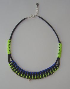 Vintage Crystal Rhinestone Necklace with Neon and by ZacariPiper, $50.00