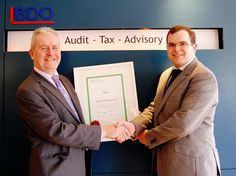 Cathal McNamara from CPA Ireland is pictured here presenting the AEP certificate to CPA member and Partner in BDO, Ivor Feerick. Training Programs, Programming, Certificate, Ireland, Join, Community, News, Workout Programs, Irish